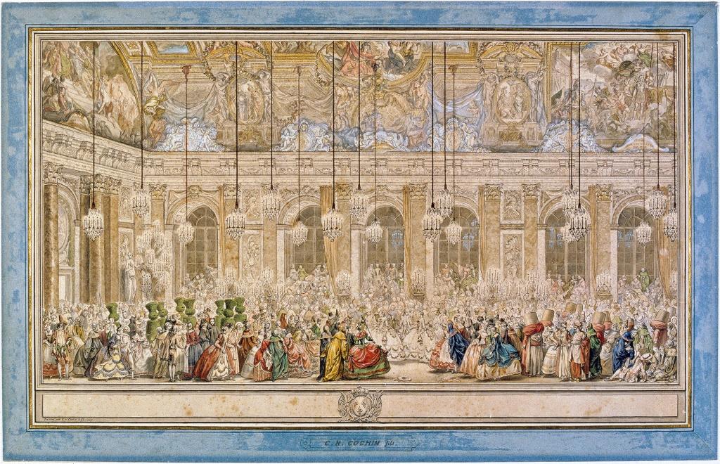 Le Bal des Ifs ; bal masqué donné dans la galerie des Glaces, le 25 février 1745, pour le mariage du Dauphin Louis avec l'infante Marie-Thérèse-Raphaëlle d'Espagne, par Charles Nicolas Cochin le Jeune (1715-1790).