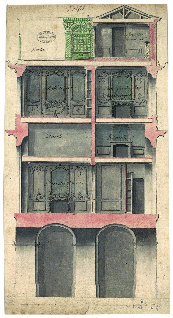 Coupe légendée sur lespetits cabinets de Louis X Coupe légendée sur lespetits cabinets