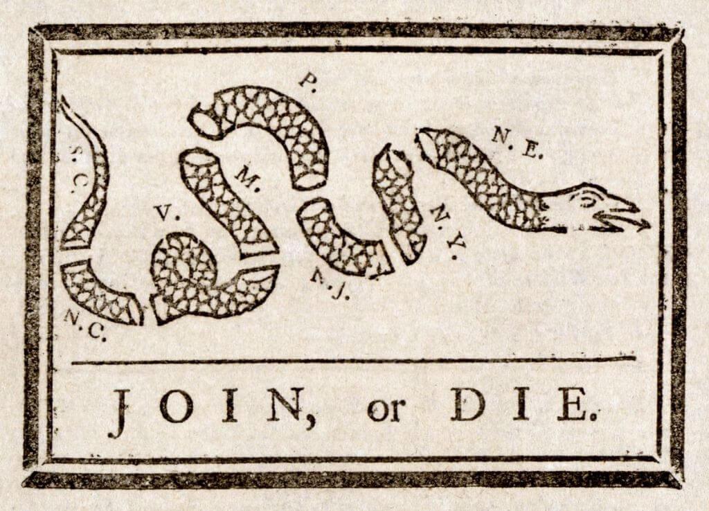 Join or die, Benjamin Franklin, 9 mai 1754, gravure sur bois