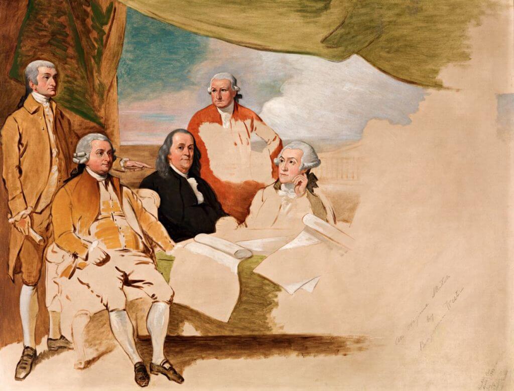 Les Commissaires duTraité de Paris, vers1783, d'après Benjamin West. L'œuvreétait destinée àimmortaliser la signature du traité de paix entre les Américains et la Grande Bretagne, le3 septembre 1783 àl'Hôtel d'York, en mêmetemps que le traité de Versailles. Lapartie droite du tableau ne fut jamais achevée, le Britannique ayant refusé de venir poser pour le peintre.