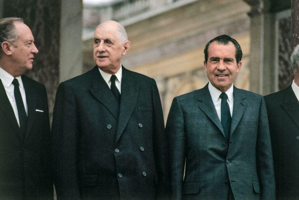 Richard Nixon et Charles de Gaulle au Grand Trianon, le 1er mars 1969